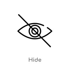 Outline hide icon isolated black simple line vector