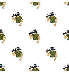 Paintball player icon in cartoon style isolated on vector