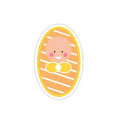 Paper sticker newborn girl on white background vector