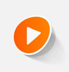 Paper sticker play button web icon vector