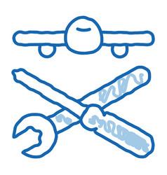 Plane instruments doodle icon hand drawn vector