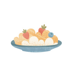 Plate of oatmeal with ripe strawberry and vector