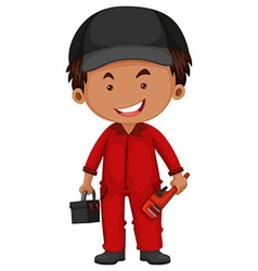 Plumber in red uniform vector