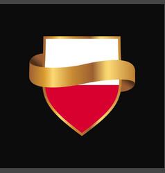Poland flag golden badge design vector