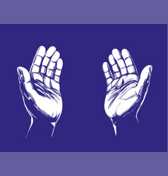 praying hands symbol of christianity hand drawn vector image