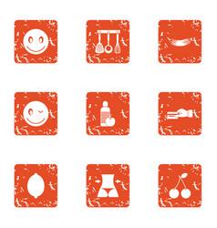 Procurement activity icons set grunge style vector