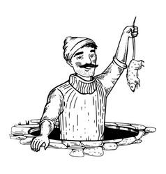 rat catcher engraving vector image