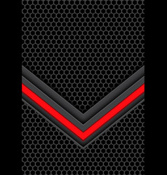 red light arrow on dark gray hexagon mesh vector image