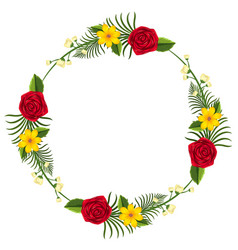 round border template with yellow and red flowers vector image