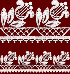 Seamless openwork lace border Realistic vector