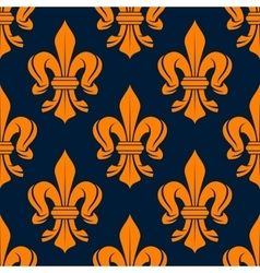 Seamless victorian orange fleur-de-lis pattern vector image
