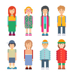 set characters in flat design vector image