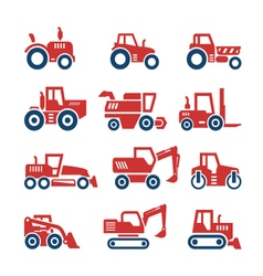 Set color icons of tractors vector image