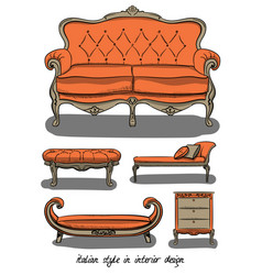 set of furniture in pink and gray colors italian vector image