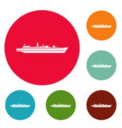 Ship combat icons circle set vector