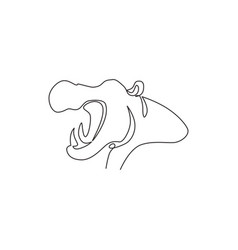 Single continuous line drawing large cute vector