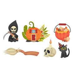 Sinister halloween holiday symbols with broom and vector