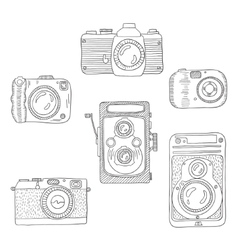 sketch a photo camera drawn hand vector image