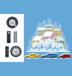 slippery ice winter snow road and cars caution vector image