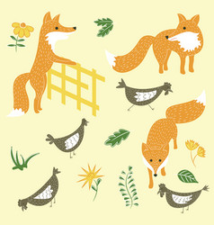 Sly foxes and chickens set vector
