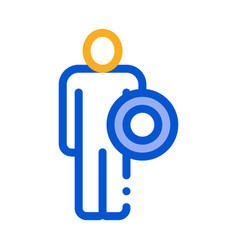 strong man with shield icon outline vector image