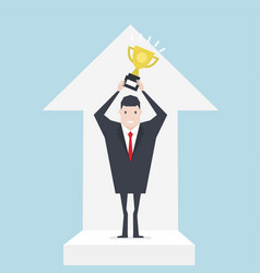 successful businessmen holding trophies with graph vector image