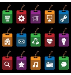 tag icons on black vector image