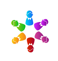 Teamwork executives busines people colorful icon vector