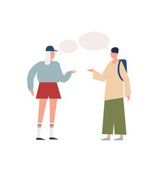 teenage female and hipster male backpacker talking vector image