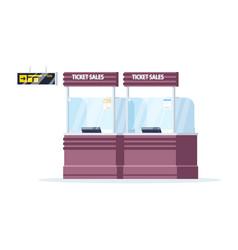 Ticket sales counter semi flat rgb color empty vector