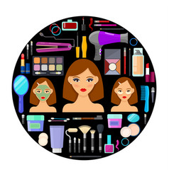 tools for makeup and beauty on black background vector image