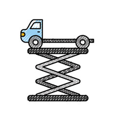 Tow truck side view platform service maintenance vector