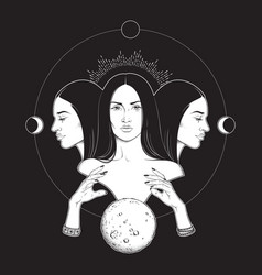 Triple lunar goddess hecate vector