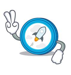 Two finger stellar coin character cartoon vector