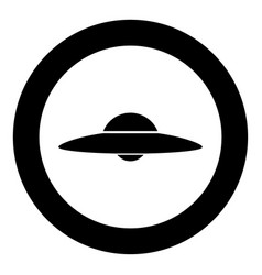 ufo flying saucer icon black color in circle vector image