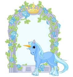 Unicorn close to flower frame vector