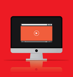 Video player icon computer in flat style vector