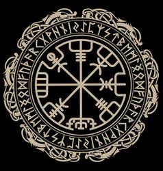 Viking design magical runic compass vegvisir vector