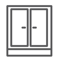 Wardrobe line icon furniture and home cupboard vector