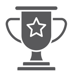 winner glyph icon game and award trophy cup sign vector image