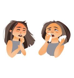 Woman having flu symptoms - runny nose cough vector