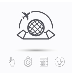 World map icon Plane travel sign vector