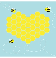 Yellow honeycomb set in shape of heart Cute vector image