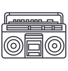audio cassete player line icon sign vector image