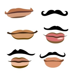 Collection of men mouths vector image vector image