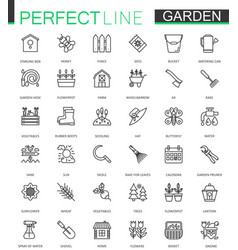 gardening and flower thin lines web icons set vector image