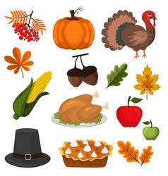 happy thanksgiving celebration design cartoon vector image