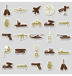 military theme simple stickers icons set eps10 vector image