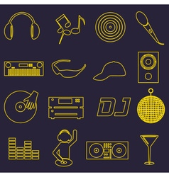 music club dj simple outline icons set eps10 vector image