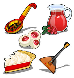 set in folk style balalaika spoon and other vector image